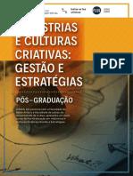 Folder do curso de pós graduação em Industrias e Culturas