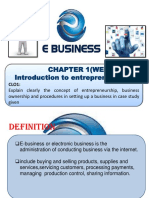 Introduction to Entrepreneurship Chapter 1 Week 2 E-BUSINESS
