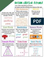 spellingcenterschoiceboard