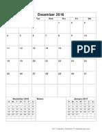 2017 Monthly Calendar Portrait 14 Dec 2016