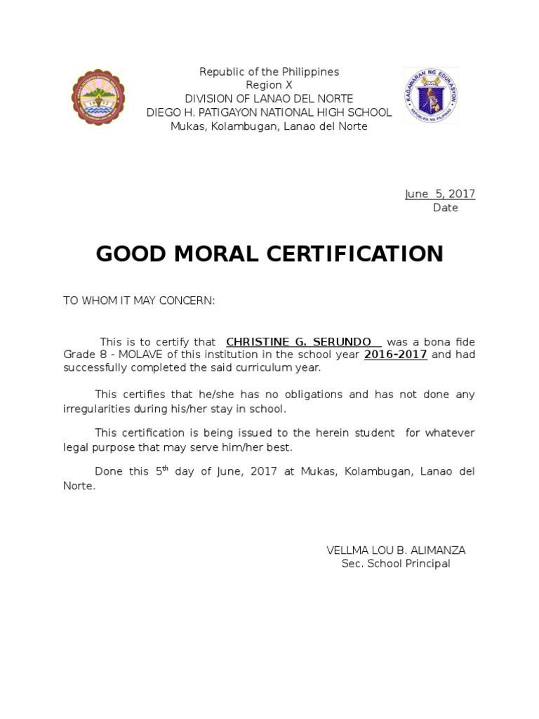 Sample good moral certificate personal letter of reference format good moral certificate sample for school gallery certificate 1509486886 good moral certificate sample for school yadclub Images