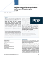 Understanding Pharmacist Communication and Medication Errors a Systematic Literature Review