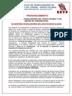 PRONUNCIAMIENTO DE SINDICATO DE TRABAJADORES DE PALMAS DEL ESPINO - GRUPO PALMAS