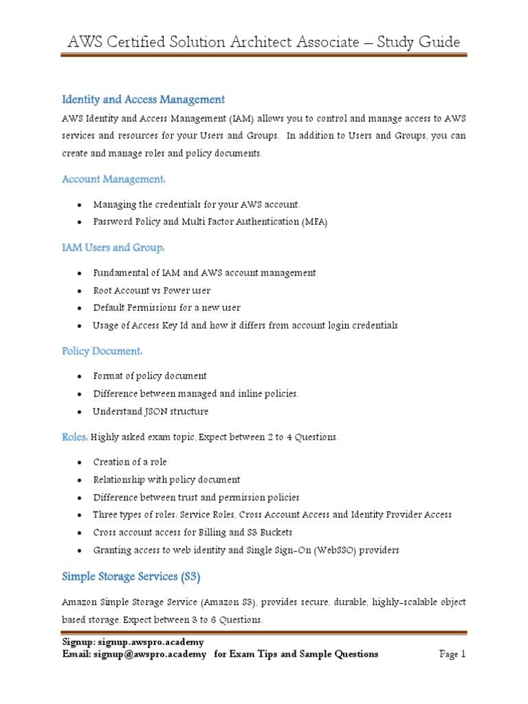 111 Associate Solution Architect Study Guide Aws Cloud Computing