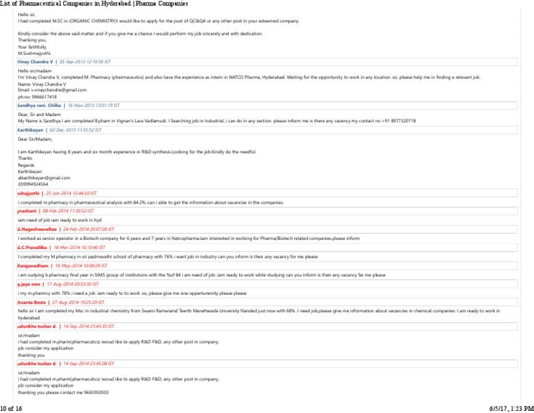 Hyderabad based Pharma companies updated10 pdf | Industries