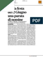 Per la festa del 2 giugno una parata di nomine - Il Corriere Adriatico del 2 giugno 2017