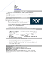 Resume  Web Developer and Web Design of About 6 month experience