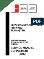 Isuzu Commercial Truck Forward Tiltmaster Service Manual Supplement 2003