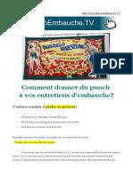 Entretien Embauche Punch Langage Energie Force Puissance Impact (Yves Gautier)