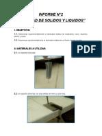 """INFORME DE FISICA II """"DENSIDAD DE SOLIDOS Y LIQUIDOS"""""""