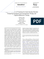 Cognitive Mediators of Treatment for Social Anxiety Disorder Comparing Acceptance and Commitment Therapy and Cognitive Behavioral Therapy 2014 Behavio