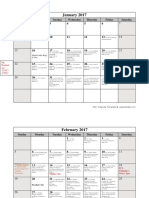 2017 homework calendar
