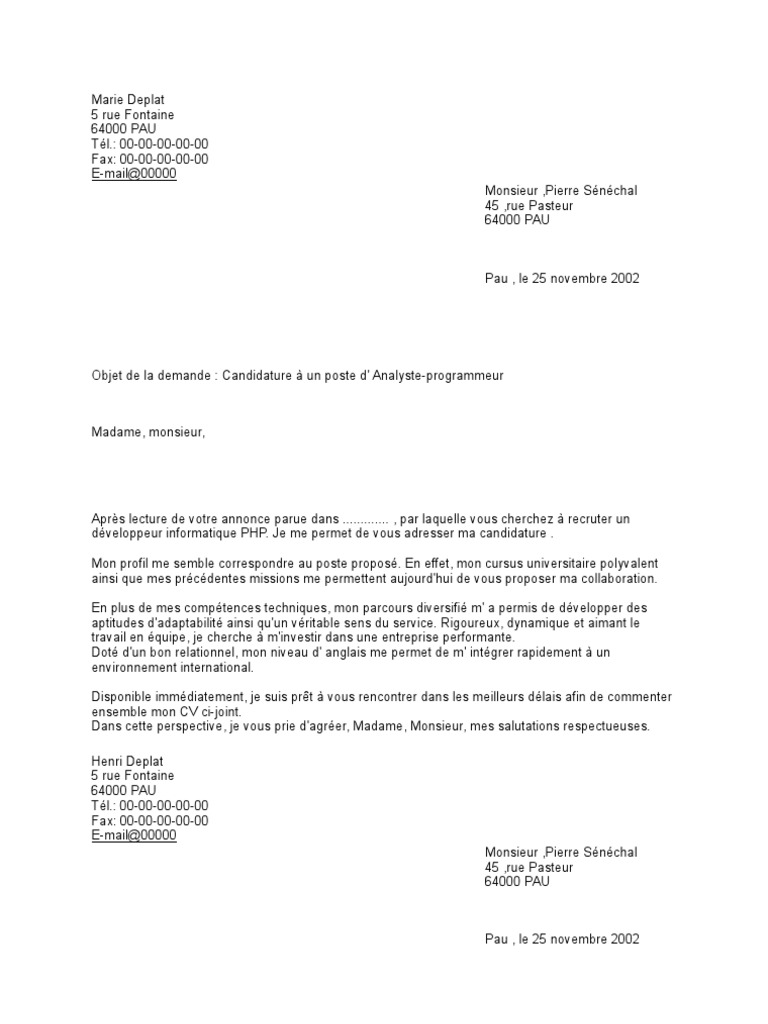 mdele lettre de motivation et cv