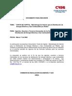 COSTO de CAPITAL - Metodología de Cálculo Para La Distribución de Energía Eléctrica y Gas Combust
