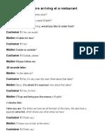 Restaurant Dialogue - PART 1 Customers Arriving at a Restaurant -ARRANGE SENTENCES in ORDER