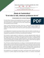 ¡Basta de Feminicidios!, Pronunciamiento del Dpto. de la Mujer Trabajadora CGTP