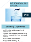 Analysing Solution and Solubility