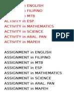 Activity n Asssignment
