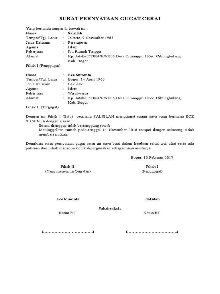 Surat Pernyataan Gugat Cerai Docx