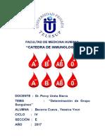 determinacion de grupo sanguineo informe