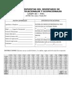 Hoja de Respuestas Del Inventario de Intereses Vocacionales y Ocupacionales Casm 83