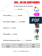 Prepositions - In on Under Worksheet