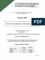 BTSINDUSPA Automatismes Et Informatique Industrielle 2001