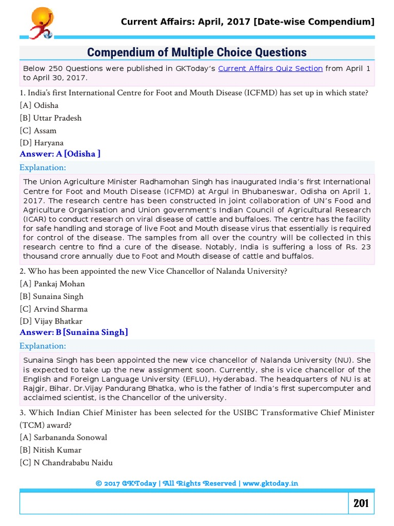 Gktoday April 2017 MCQs Reserve Bank India