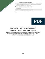 Memorial Descritivo Sistema de Esgoto - Rev 01 Bloco de Engenharia Civil