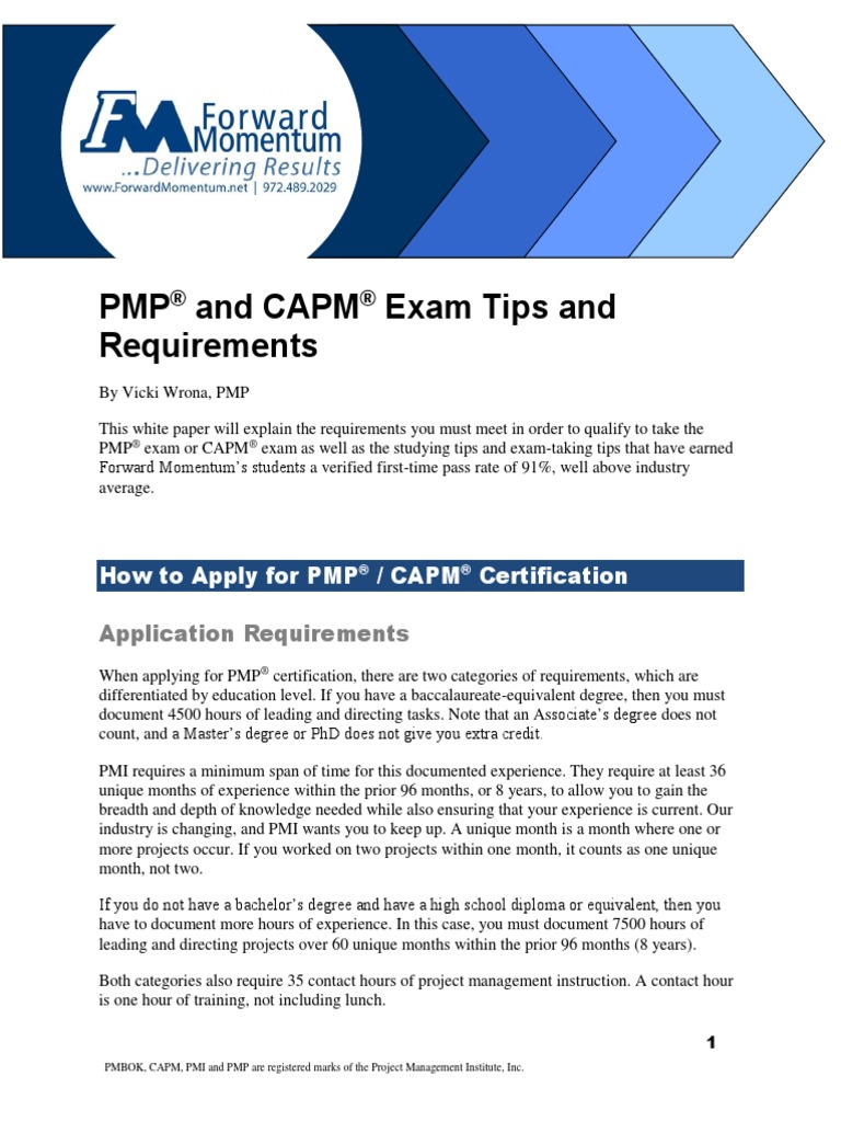 Pmp capm exam tips 5th v11pdf academic degree test assessment 1betcityfo Gallery