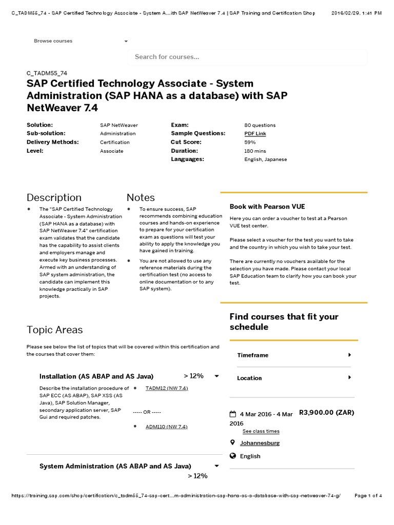 C_TADM55_74 - SAP Certified Technology Associate - System