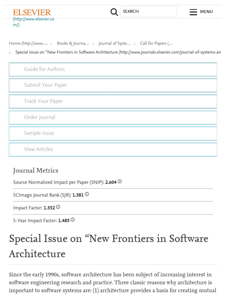 """Special Issue on """"New Frontiers in Software Architecture - Journal"""