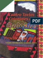 Garces F 1999 Cuatro Textos Coloniales Del Quichua de La Provincia de Quito