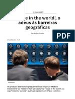 'Made in the World', o Adeus Às Barreiras Geográficas - SWI Swissinfo.ch