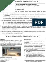 APL 1.1 - Absorção e Emissão de Radiação