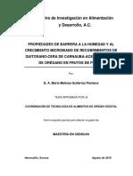 Propiedades de Barrera a La Humedad y Al Crecimiento Microbiano de Recubrimiento de Quitosano Cera de Carbauba Aceite Esencial de Oregano en Frutos de Pepino