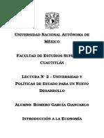 Lectura No. 2 - UNIVERSIDAD Y POLÍTICAS DE ESTADO PARA UN NUEVO DESARROLLO