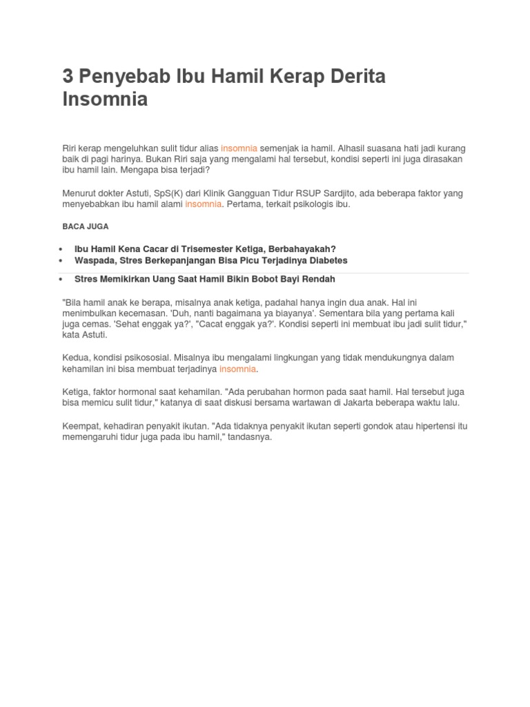 3 Penyebab Ibu Hamil Kerap Derita Insomnia