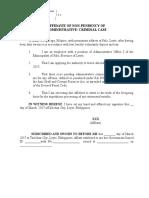 Affidavit of Non Pending Case (Sample)
