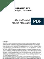 TRABALHO AV2 - DIREÇÃO DE ARTE PPT