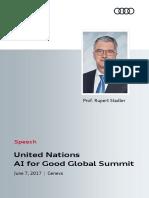 Speech Rupert Stadler at AI for Good Global Summit