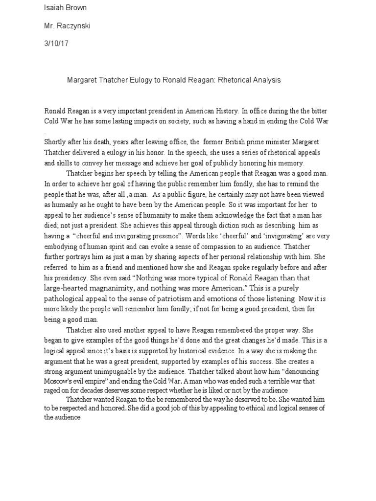 Eulogy Ronald Reagan Margaret Thatcher