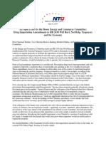 NTU - Opposing House E&C Importation Amendment