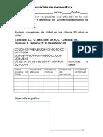 Evaluación de Matemática 7ª Tabla de Datos