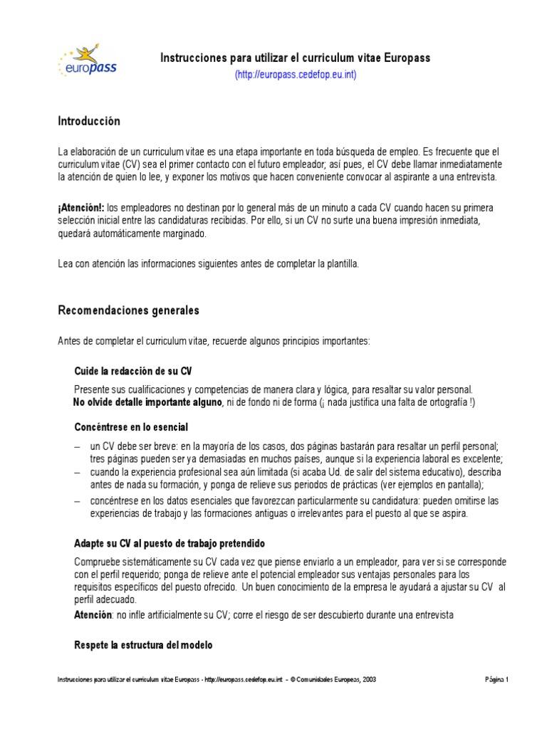 Instrucciones Cv
