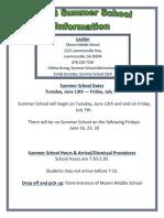 2016-2017 summer school information