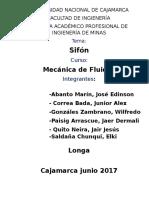 Práctica de mecánica de fluidos -Sifón Normal