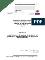 Construcion y Operación de La Planta de Beneficio de Pb, Cu y Zn