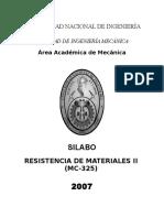 Silabus UNI Resistencia de Materiales II