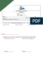 Ficha de Avaliação SumativaEquações 7º Ano 3º Período